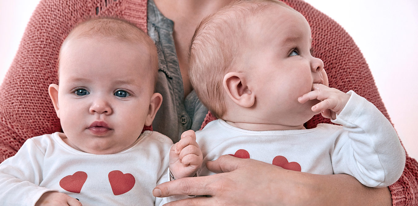 twins in heart shirts image